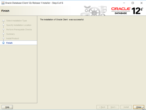 Oracle ODBC driver installation - completion of the setup process
