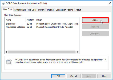 Oracle ODBC connection setup - system dialog showing configured ODBC connections