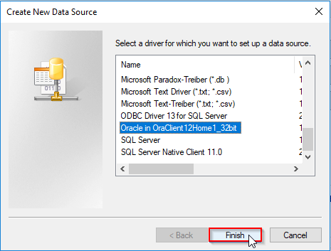 Oracle ODBC connection setup - selection of the Oracle ODBC driver