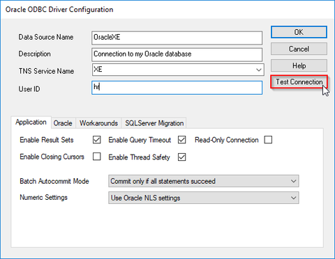 Oracle ODBC connection setup - editor of the Oracle ODBC connection properties