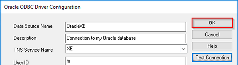 Oracle ODBC connection setup - completing the setup of the conneciton