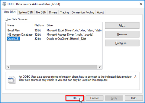 Oracle ODBC connection setup