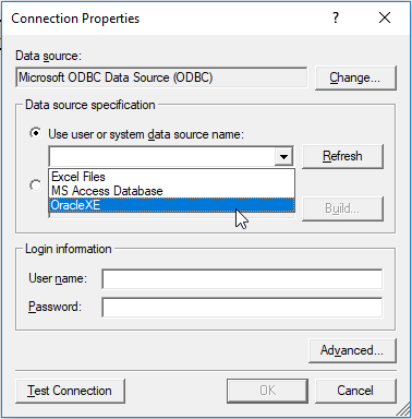 Create new Oracle connection in SelectCompare