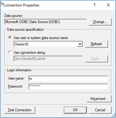 Configuration of the Oracle ODBC data connection details in SelectCompare