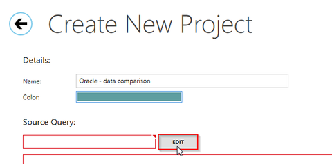 Use Oracle ODBC connection in SelectCompare - creating new project