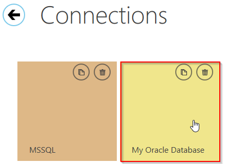 Selection of the Oracle ODBC data connection in SelectCompare user interface