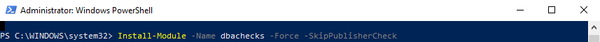 Installation of the DBAChecks database toolset in Powershell