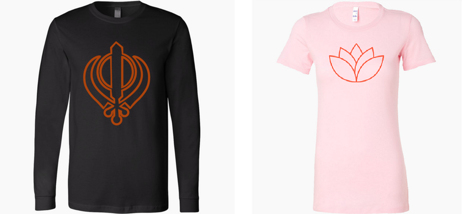 sikh kanda and lotus t-shirts