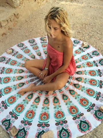 round mandala tapestry for the beach