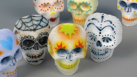 bullseye glass day of the dead skulls
