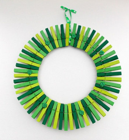 green clothespin wreath