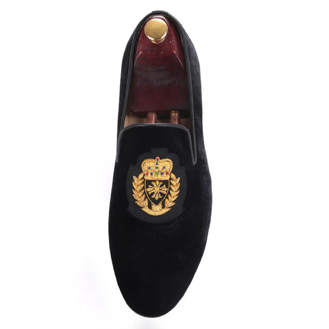 men's black velvet slippers