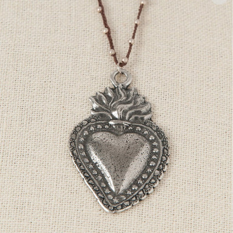 silver milagro heart necklace