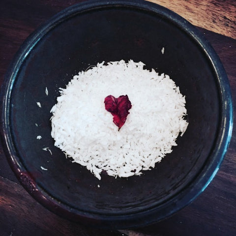 heart shaped rose petal and coconut flakes for love