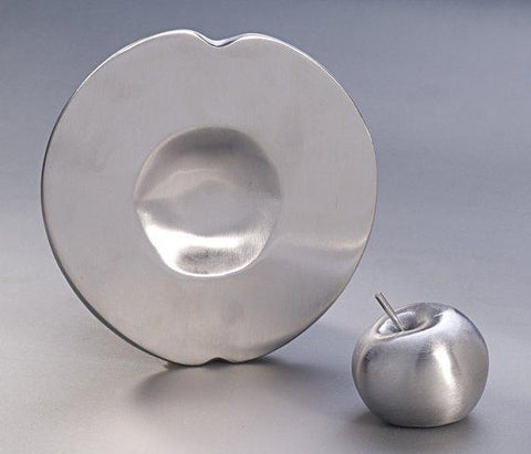 silver honey and apple rosh hashanah plate