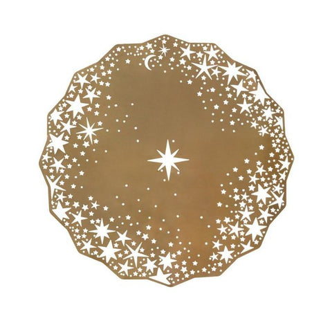 starburst metal gold placemat or charger plate
