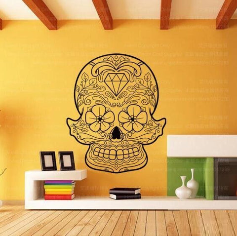 sugar skull wall decal day of the dead decor