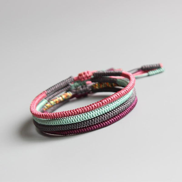 Bracelet - lucky Buddhist Knot Rope Bracelet- PInk, Mint, Dark Gray & Purple