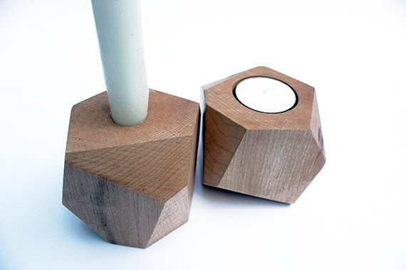 Candle Holder - Geometric Maple Wood Candle Holders By Rong Designs