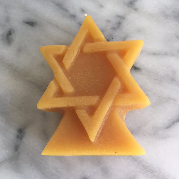 Candles - Star Of David Candle In Beeswax By Beeswax Candle Works