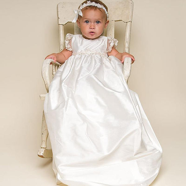 Christening Gown - Baby Shantung Silk And Lace Christening Gown