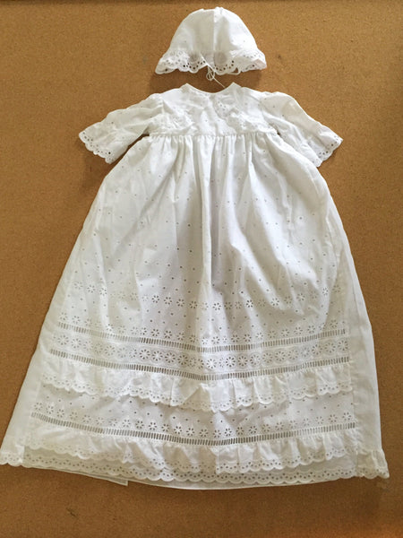 Christening Gown - Vintage Swiss Cotton Eyelet St. Gallen Christening Gown With Slip And Cap