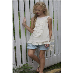 Girls Dress - Swiss Polka Dot Top With Linen