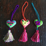 Hearts - Felt Embroidered Hearts With Tassels