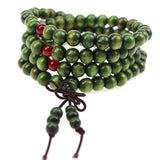 Natural Wood Green Buddhist Mala Bead Bracelets