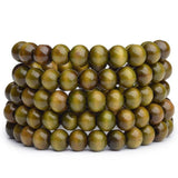 Natural Wood Buddhist Mala Bead Bracelets