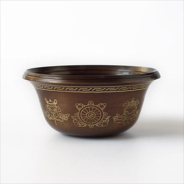 Tibetan Copper Offering Bowl with Auspicious Patterns