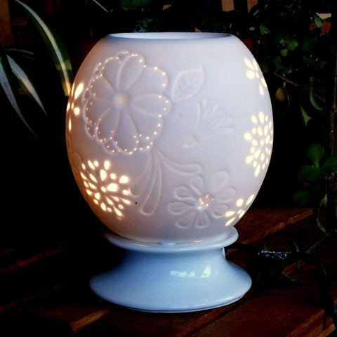 Large Floral Electric Porcelain Wax Warmer