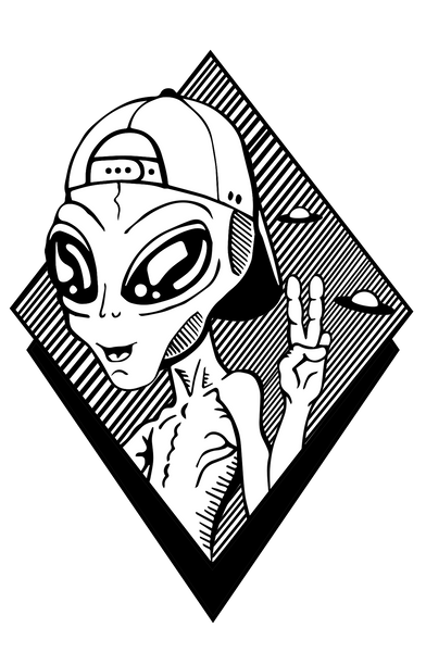 White Alien Graphic T-Shirt
