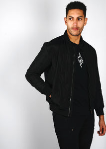Black Classic Quilted Bomber Jacket