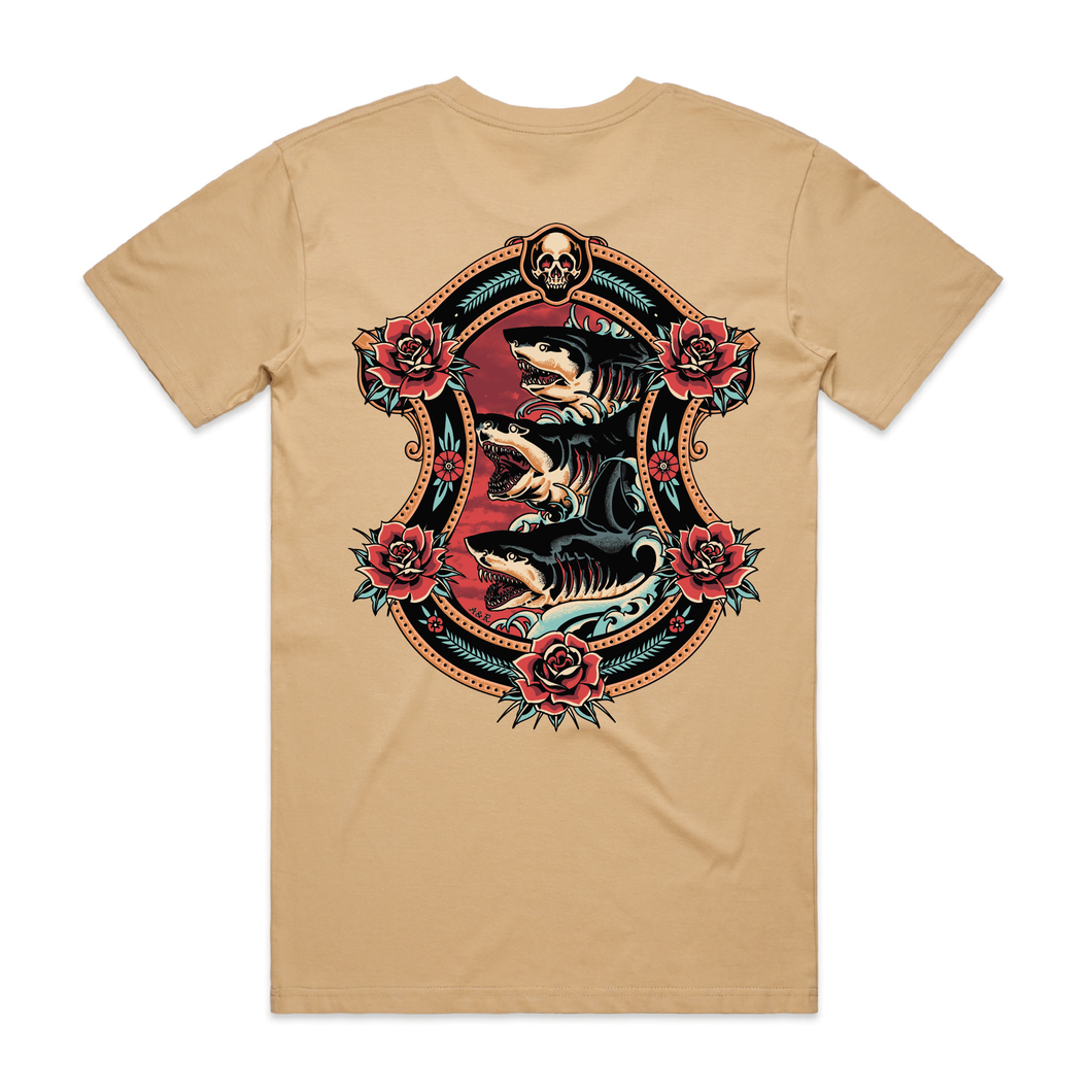 Shark Attack Tan T-Shirt