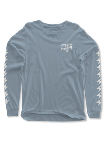 """Future-Me Problems"" Blue Long Sleeve T-Shirt"