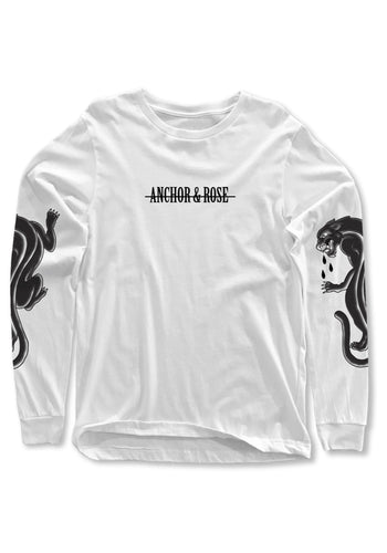 Panther White Long Sleeve T-Shirt