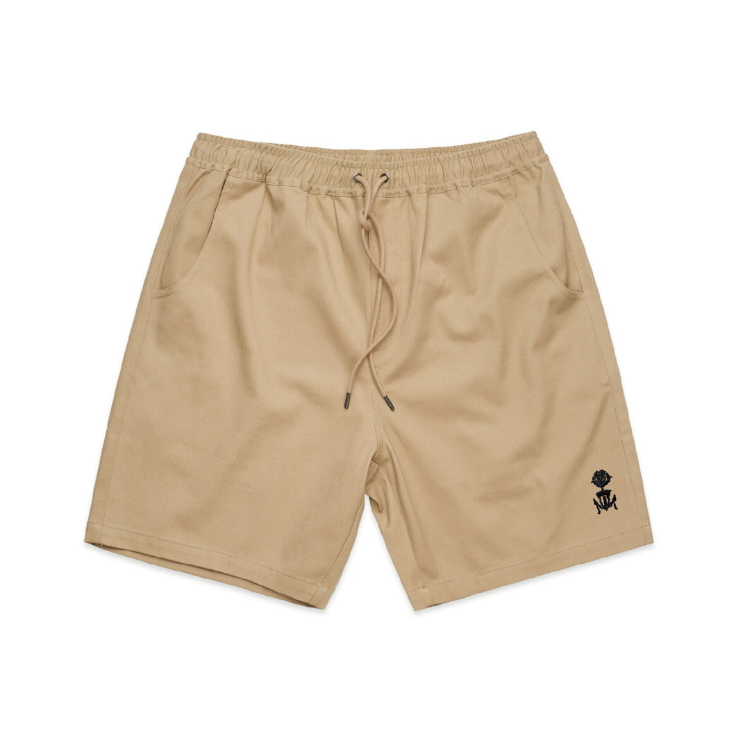 Embroidered Tan Walk Shorts