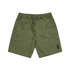 Embroidered Military Green Walk Shorts