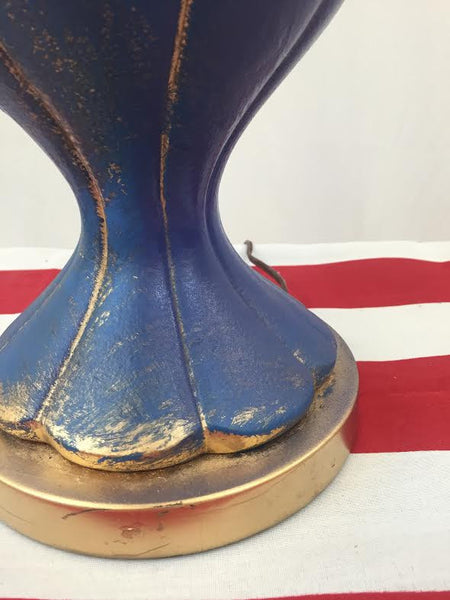 Hand Painted Blue & Gold Lamp