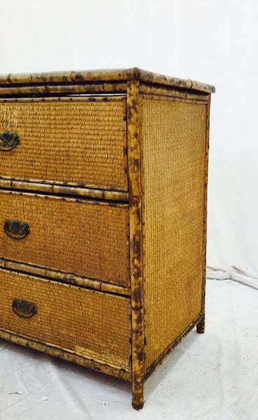 Antique Scorched Bamboo Dresser