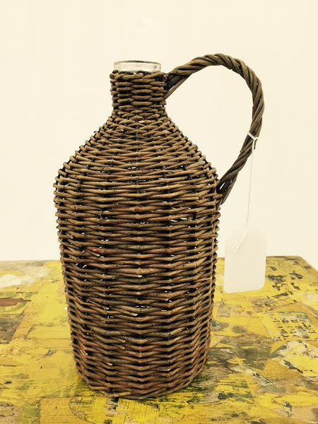 Antique Woven Wicker Wrapped Farm Jug