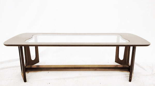"Vintage ""Brasilia"" Wood & Glass Coffee Table"
