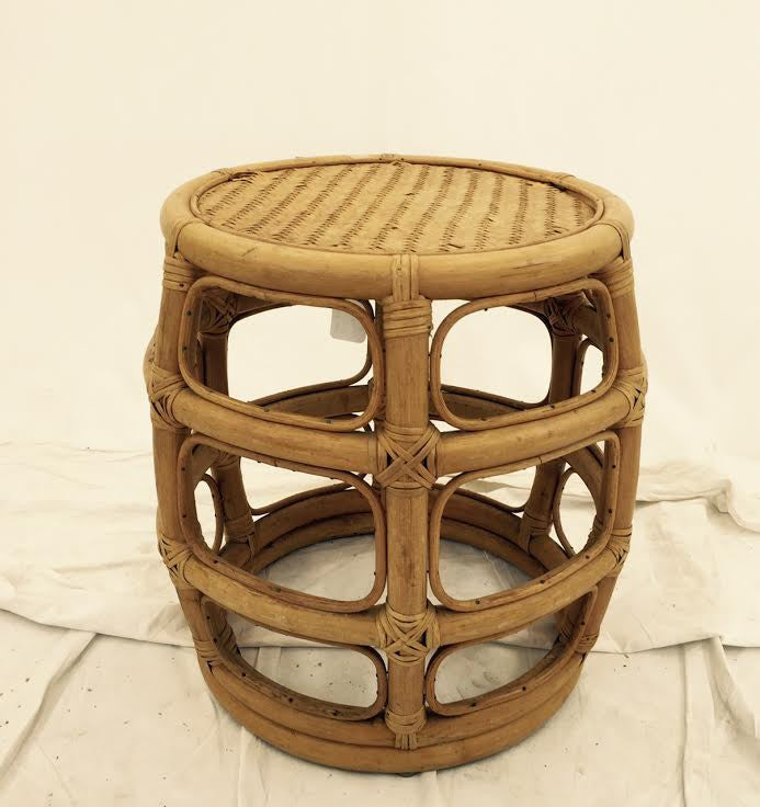 Vintage Rattan Drum Stool with Woven Top