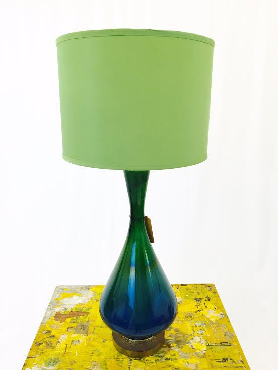 Vintage Mid Century Modern Green Ombre Glazed Ceramic Lamp
