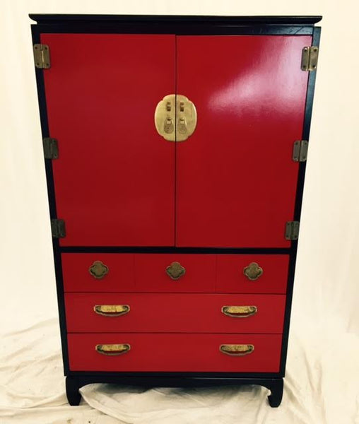 Vintage Lacquered Black & Red Asian Style Dresser by Lane Furniture