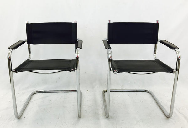 Mid Century Modern Chrome & Black Leather Chairs