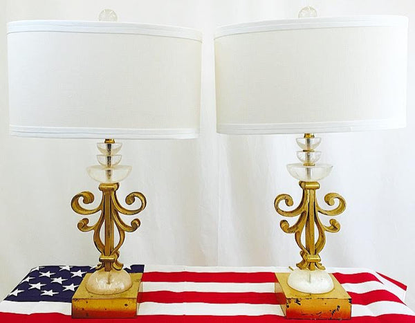 Pair Vintage Lucite Stacked Lamps