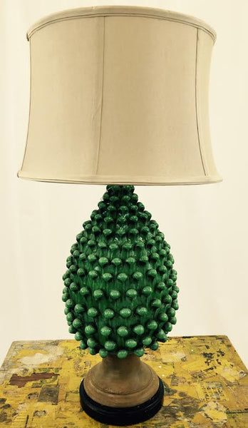Green Glazed Lamp on Matte Black Base