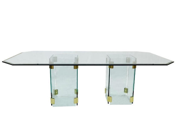 Mid Century Modern Glass & Brass Dining Table